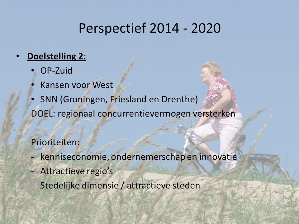 Perspectief 2014 - 2020 Doelstelling 2: OP-Zuid Kansen voor West SNN (Groningen, Friesland en Drenthe) DOEL: regionaal concurrentievermogen versterken Prioriteiten: -kenniseconomie, ondernemerschap en innovatie -Attractieve regio's -Stedelijke dimensie / attractieve steden