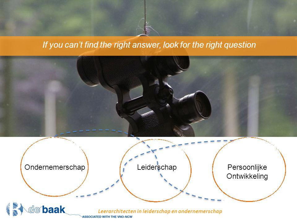 Leiderschap Persoonlijke Ontwikkeling Ondernemerschap If you can't find the right answer, look for the right question Leerarchitecten in leiderschap en ondernemerschap