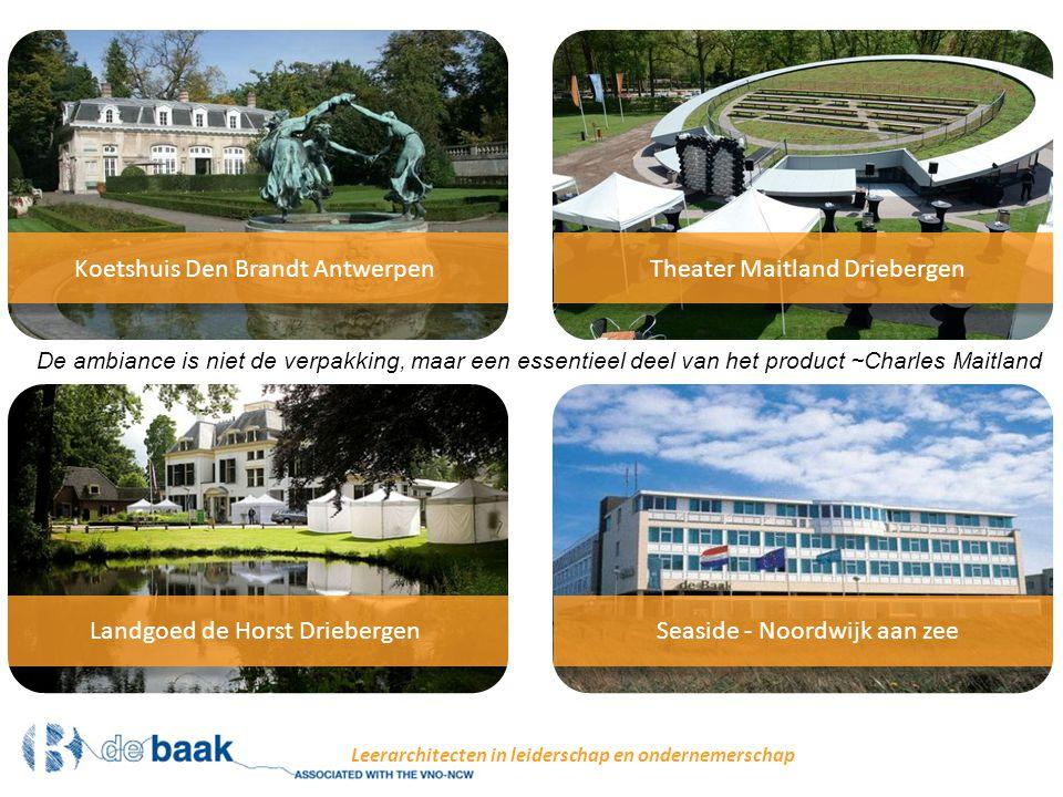 Een vrijplaats om jezelf te vinden, te worden en te zijn Leerarchitecten in leiderschap en ondernemerschap Koetshuis Den Brandt is gelegen in het rustige en kunstzinnige Park Den Brandt, nabij het Middelheimpark, een even prikkelend als tot bezinning stemmend groen gebied van 21 hectare, waar een permanente openluchtcollectie van hedendaagse kunst wordt gepresenteerd.