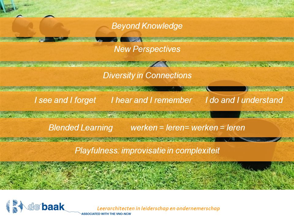 New Perspectives Leerarchitecten in leiderschap en ondernemerschap Beyond Knowledge Diversity in Connections I see and I forget I hear and I remember I do and I understand Blended Learning werken = leren= werken = leren Playfulness: improvisatie in complexiteit
