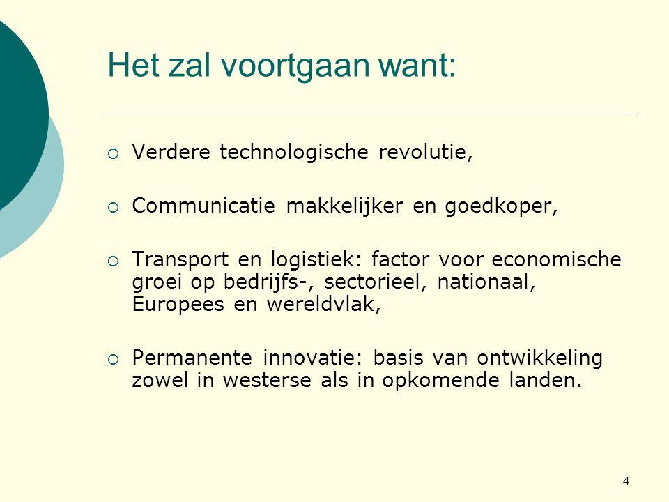 4 Het zal voortgaan want:  Verdere technologische revolutie,  Communicatie makkelijker en goedkoper,  Transport en logistiek: factor voor economisc