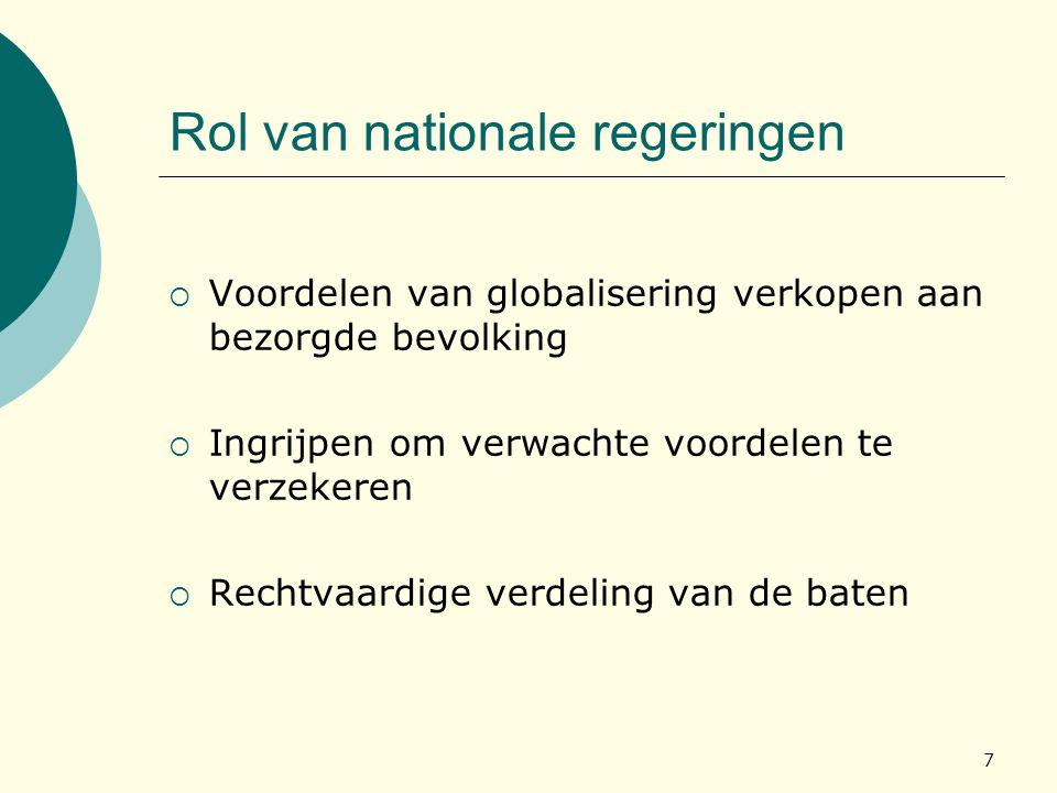 7 Rol van nationale regeringen  Voordelen van globalisering verkopen aan bezorgde bevolking  Ingrijpen om verwachte voordelen te verzekeren  Rechtv