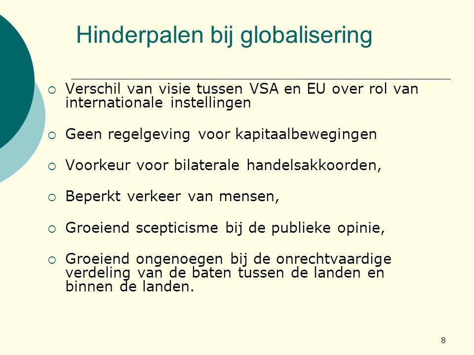 8 Hinderpalen bij globalisering  Verschil van visie tussen VSA en EU over rol van internationale instellingen  Geen regelgeving voor kapitaalbewegin