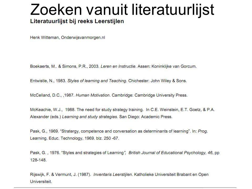 Zoeken vanuit literatuurlijst