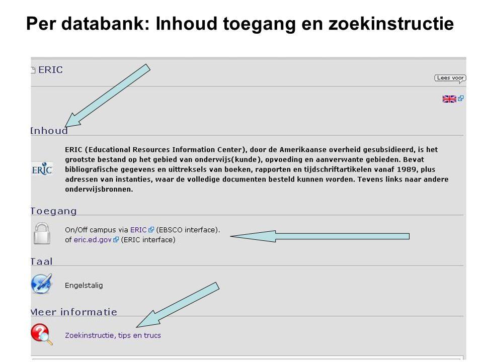 Per databank: Inhoud toegang en zoekinstructie