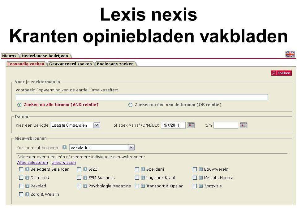 Lexis nexis Kranten opiniebladen vakbladen