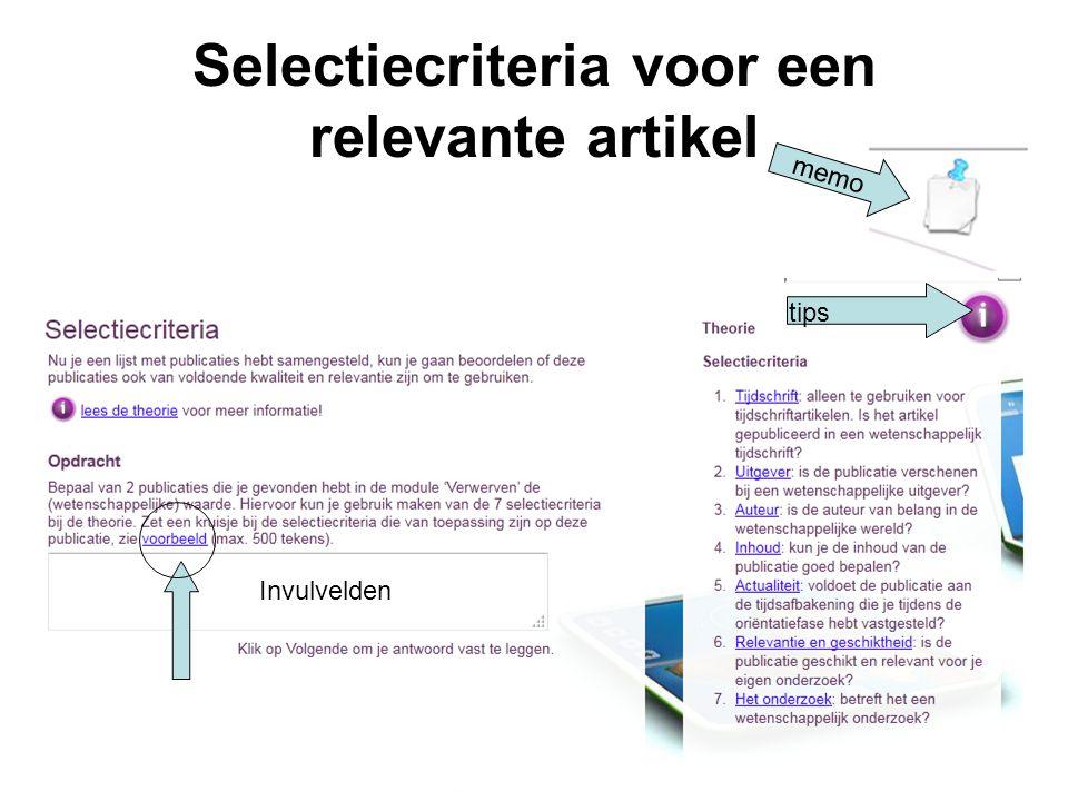Selectiecriteria voor een relevante artikel 41 memo tips Invulvelden
