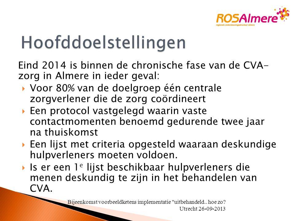 Eind 2014 is binnen de chronische fase van de CVA- zorg in Almere in ieder geval:  Voor 80% van de doelgroep één centrale zorgverlener die de zorg co