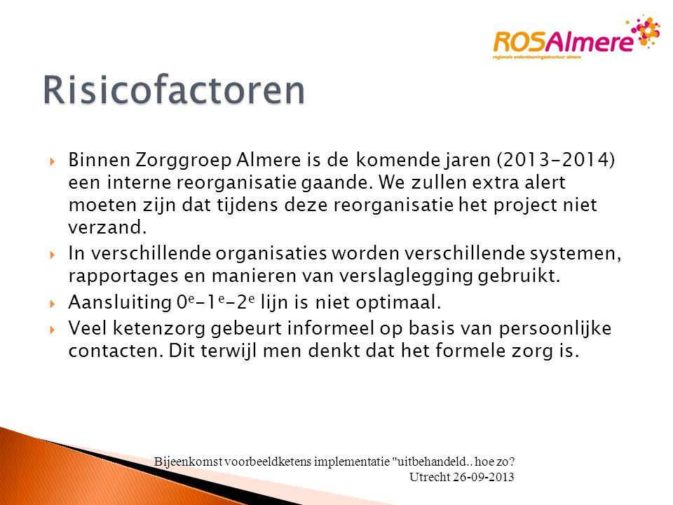  Binnen Zorggroep Almere is de komende jaren (2013-2014) een interne reorganisatie gaande. We zullen extra alert moeten zijn dat tijdens deze reorgan