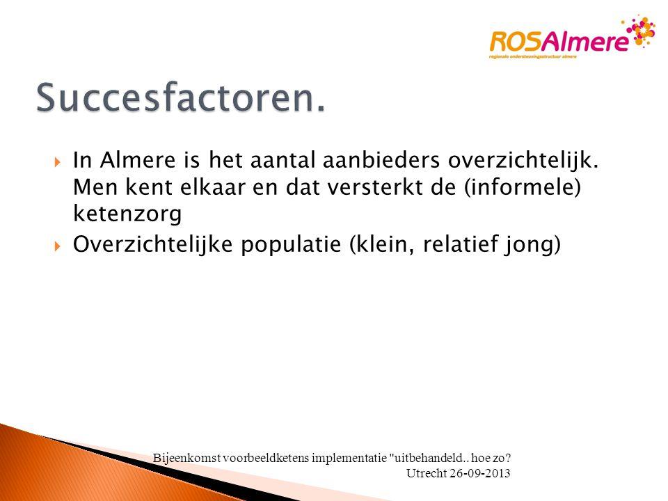  In Almere is het aantal aanbieders overzichtelijk. Men kent elkaar en dat versterkt de (informele) ketenzorg  Overzichtelijke populatie (klein, rel