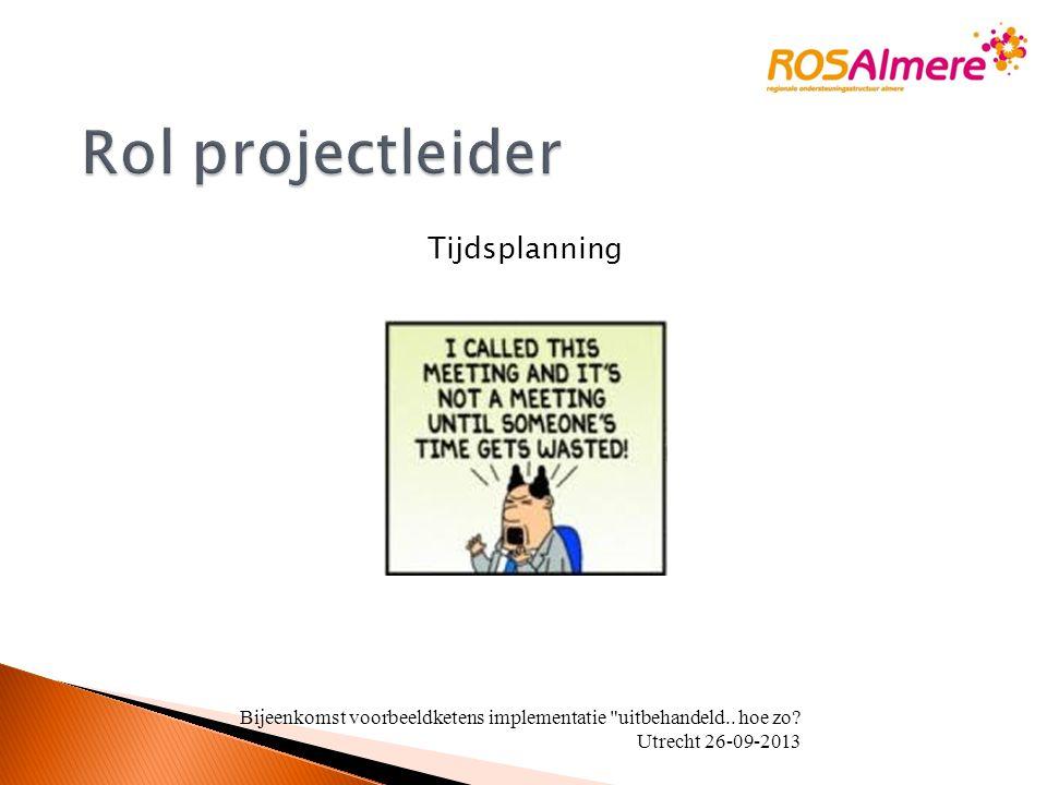 Tijdsplanning Bijeenkomst voorbeeldketens implementatie