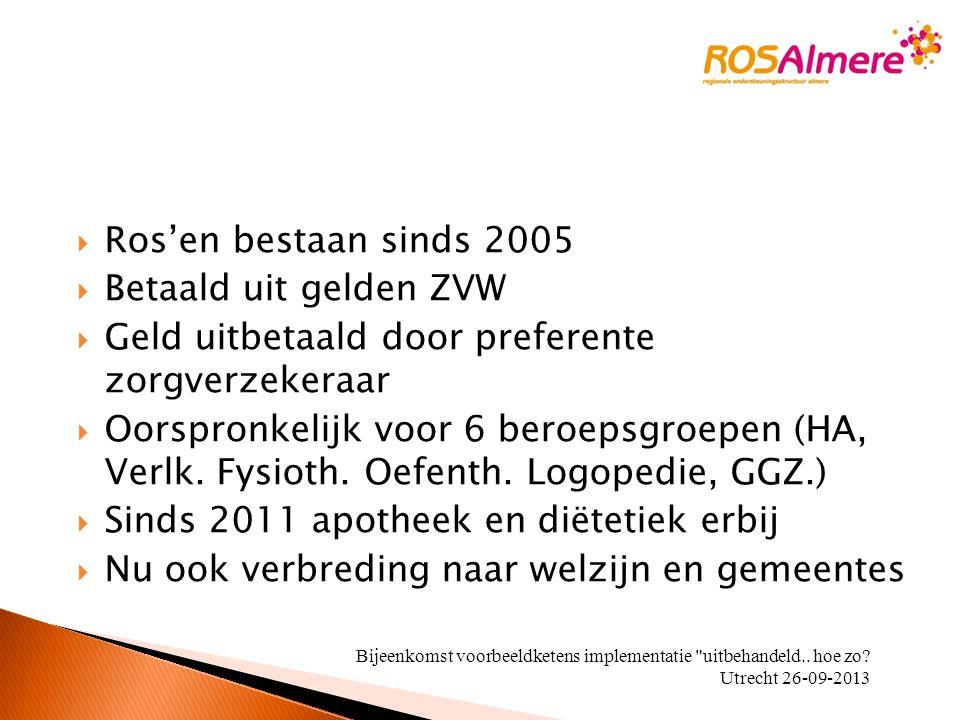  Ros'en bestaan sinds 2005  Betaald uit gelden ZVW  Geld uitbetaald door preferente zorgverzekeraar  Oorspronkelijk voor 6 beroepsgroepen (HA, Ver