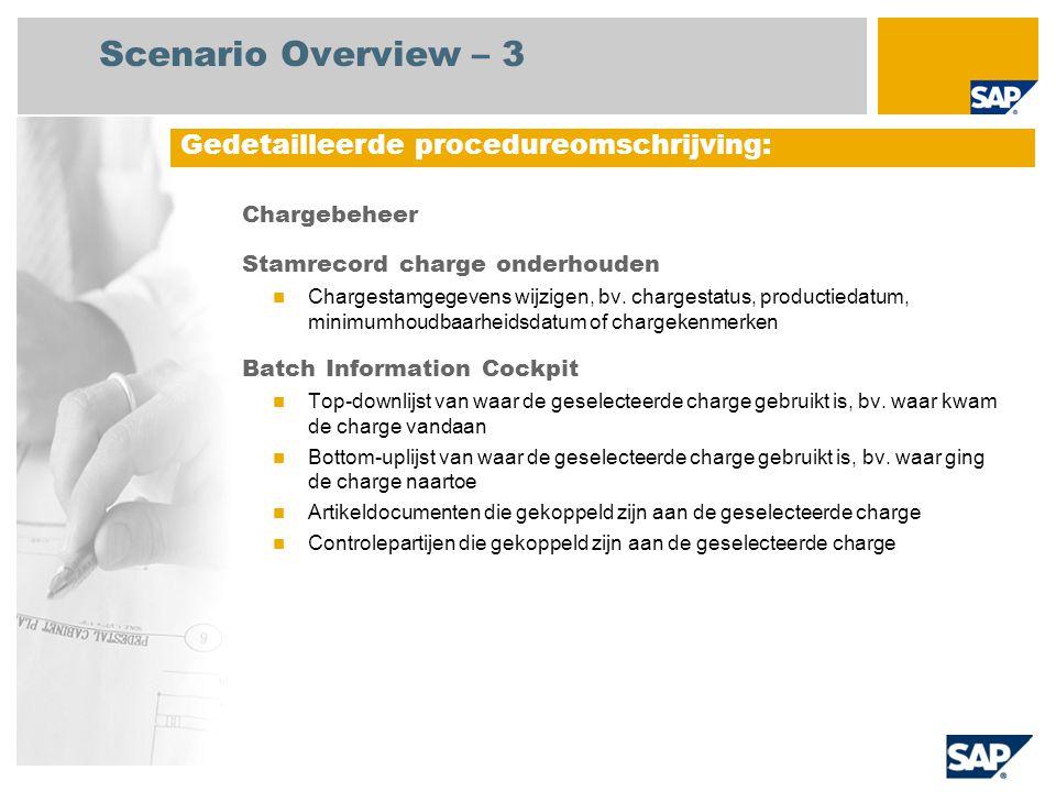 Chargebeheer Stamrecord charge onderhouden Chargestamgegevens wijzigen, bv. chargestatus, productiedatum, minimumhoudbaarheidsdatum of chargekenmerken