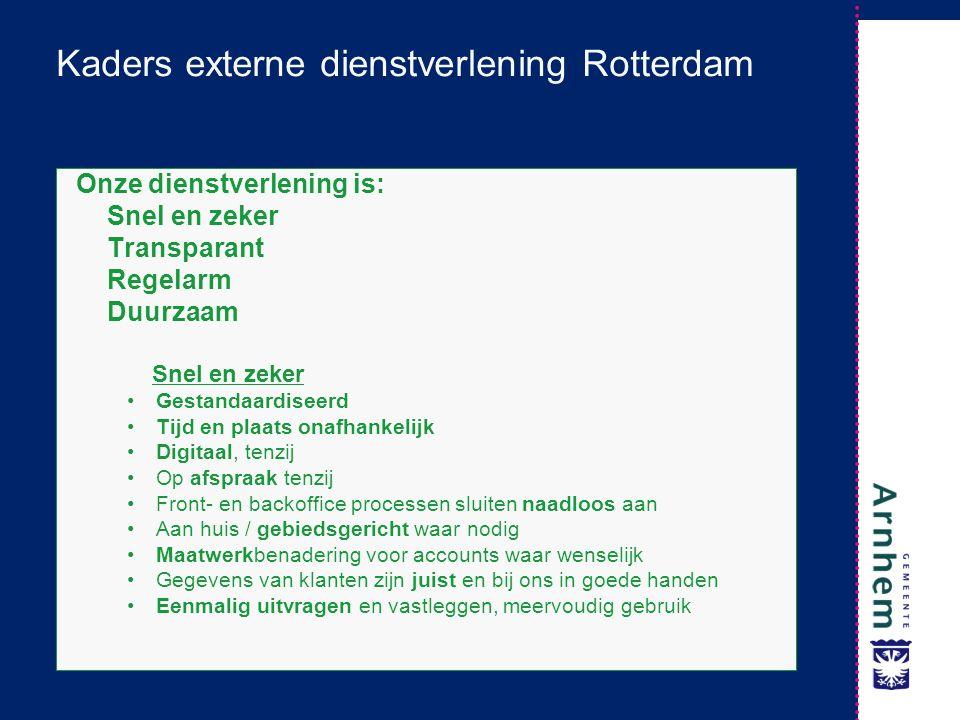 Kaders externe dienstverlening Rotterdam Onze dienstverlening is: Snel en zeker Transparant Regelarm Duurzaam Snel en zeker Gestandaardiseerd Tijd en