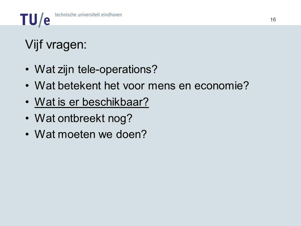16 Vijf vragen: Wat zijn tele-operations. Wat betekent het voor mens en economie.