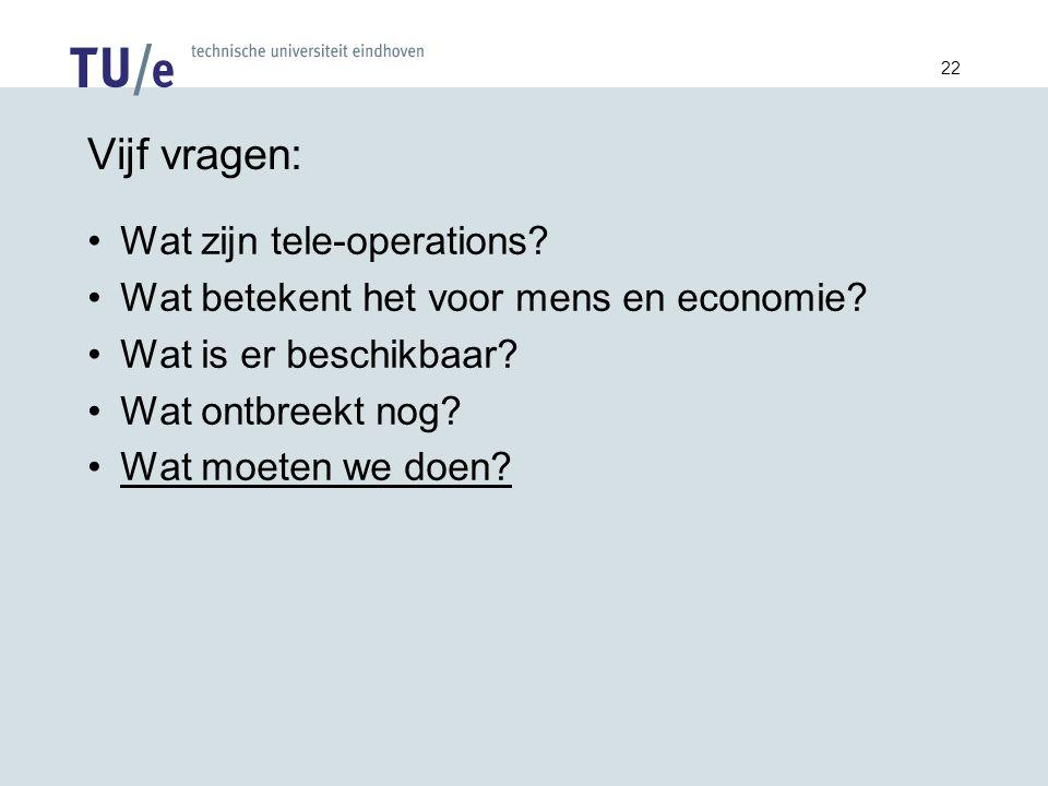 22 Vijf vragen: Wat zijn tele-operations. Wat betekent het voor mens en economie.