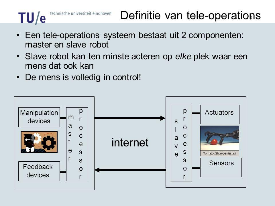 3 Definitie van tele-operations Een tele-operations systeem bestaat uit 2 componenten: master en slave robot Slave robot kan ten minste acteren op elke plek waar een mens dat ook kan De mens is volledig in control.
