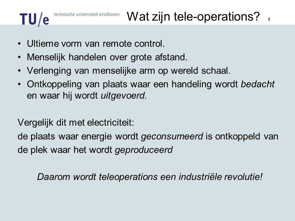 4 Wat zijn tele-operations. Ultieme vorm van remote control.
