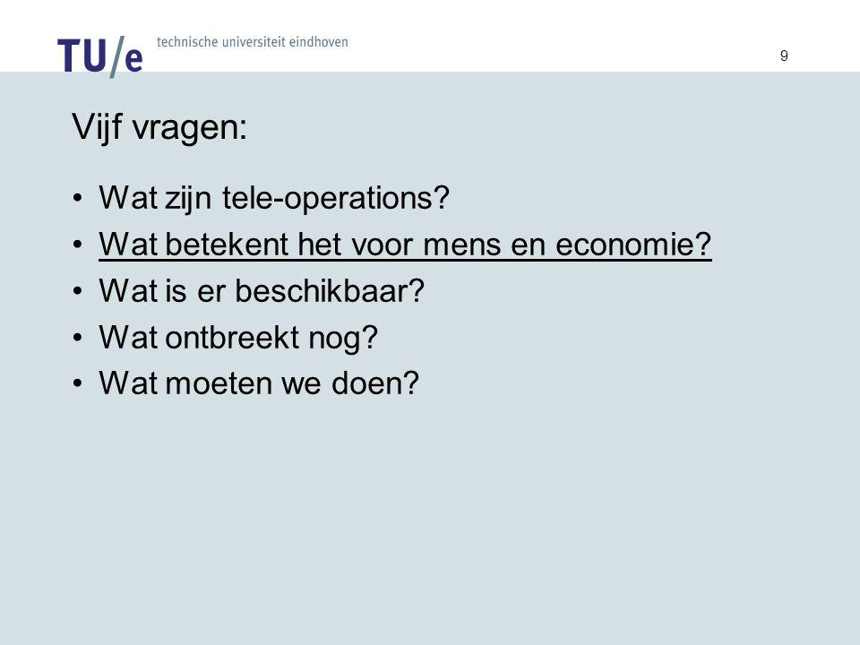 9 Vijf vragen: Wat zijn tele-operations. Wat betekent het voor mens en economie.
