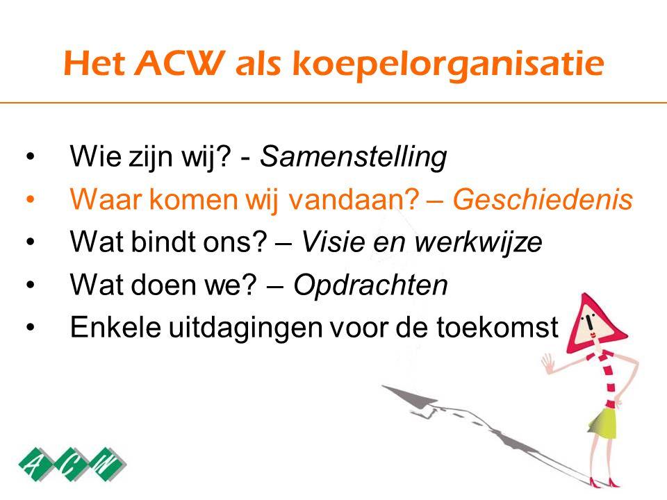 Het ACW als koepelorganisatie Wie zijn wij. - Samenstelling Waar komen wij vandaan.