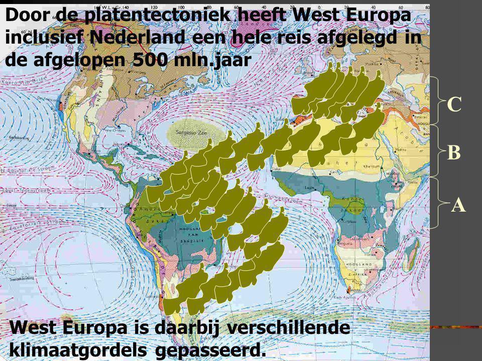 Door de platentectoniek heeft West Europa inclusief Nederland een hele reis afgelegd in de afgelopen 500 mln.jaar West Europa is daarbij verschillende