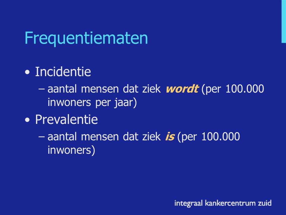 Frequentiematen Incidentie –aantal mensen dat ziek wordt (per 100.000 inwoners per jaar) Prevalentie –aantal mensen dat ziek is (per 100.000 inwoners)