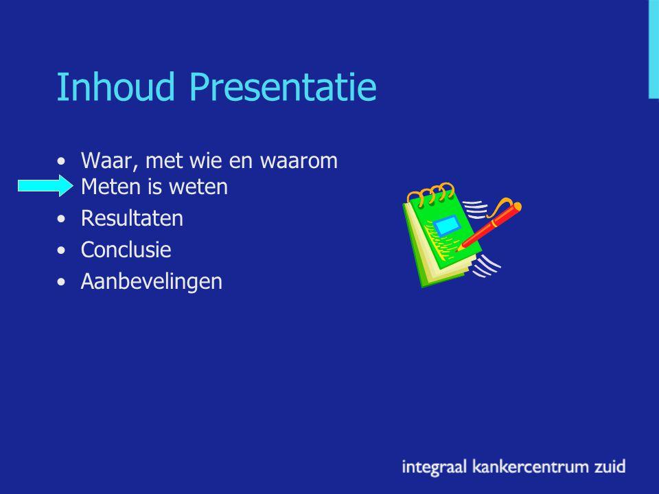 Inhoud Presentatie Waar, met wie en waarom Meten is weten Resultaten Conclusie Aanbevelingen