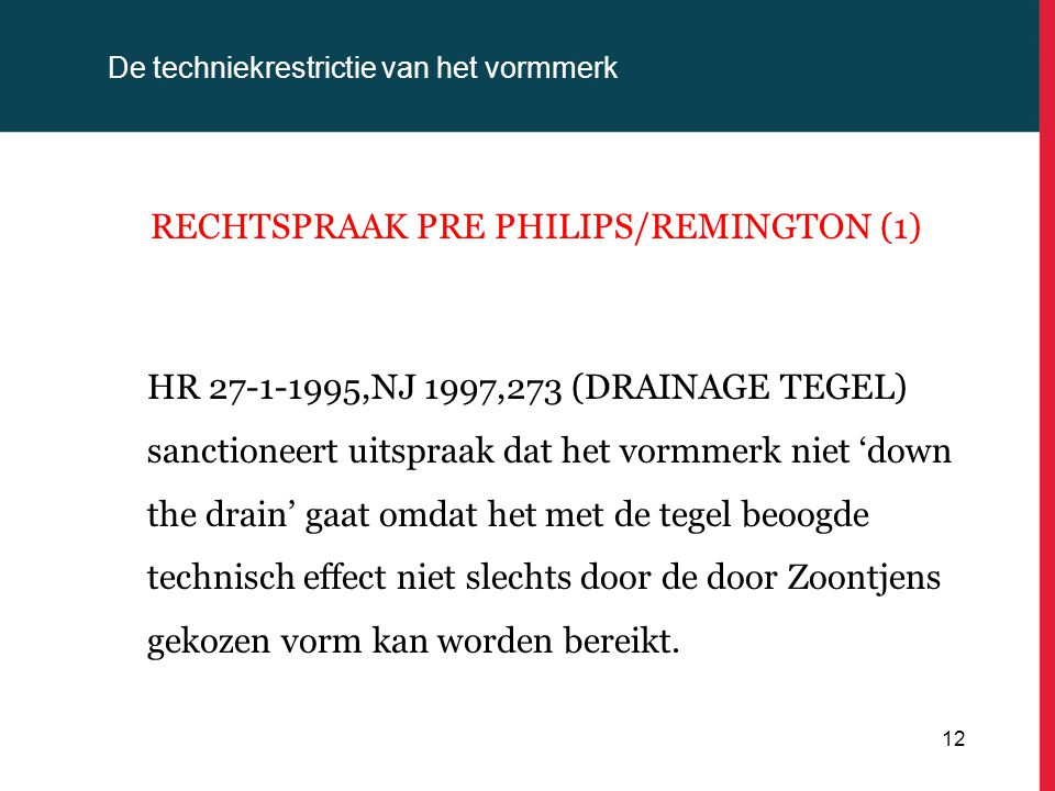 De techniekrestrictie van het vormmerk RECHTSPRAAK PRE PHILIPS/REMINGTON (1) HR 27-1-1995,NJ 1997,273 (DRAINAGE TEGEL) sanctioneert uitspraak dat het