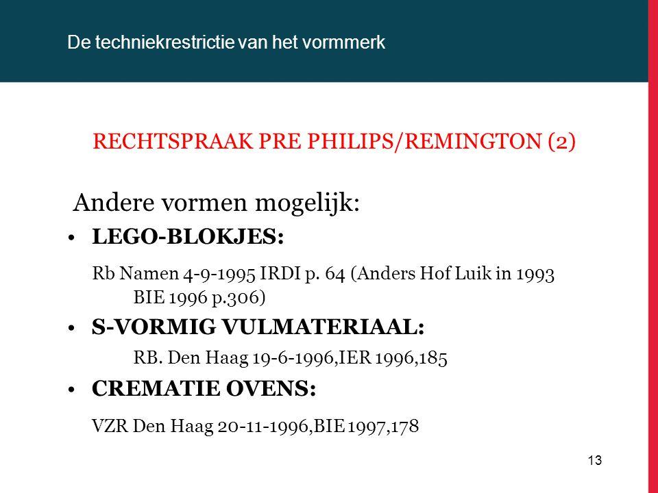 De techniekrestrictie van het vormmerk RECHTSPRAAK PRE PHILIPS/REMINGTON (2) Andere vormen mogelijk: LEGO-BLOKJES: Rb Namen 4-9-1995 IRDI p. 64 (Ander