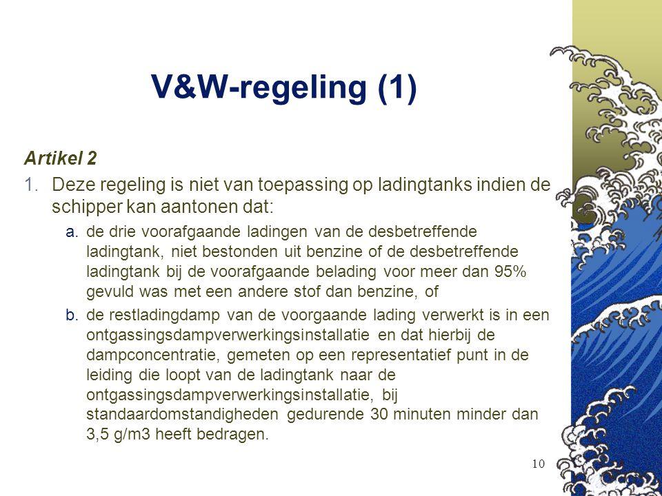 10 V&W-regeling (1) Artikel 2  Deze regeling is niet van toepassing op ladingtanks indien de schipper kan aantonen dat:  de drie voorafgaande ladi