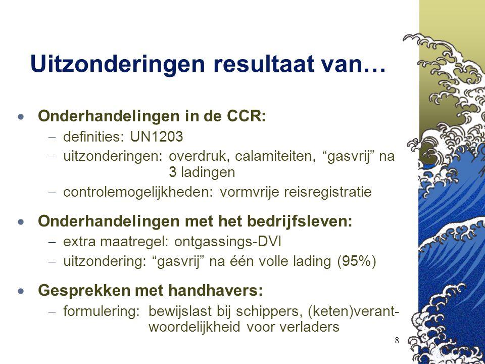 """8 Uitzonderingen resultaat van…  Onderhandelingen in de CCR:  definities: UN1203  uitzonderingen:overdruk, calamiteiten, """"gasvrij"""" na 3 ladingen """