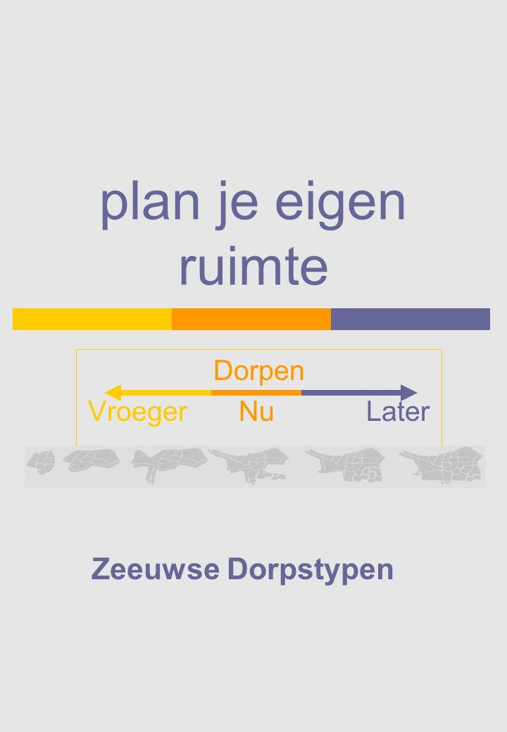 Modern dorp (of moderne dorpsuitbreiding) Waar: -in de nieuwere polders (complete dorpen) -alle grotere Zeeuwse dorpen (uitbreidingen) Voorbeeld: Lewedorp.