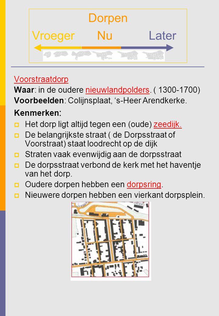 Voorstraatdorp Waar: in de oudere nieuwlandpolders. ( 1300-1700) Voorbeelden: Colijnsplaat, 's-Heer Arendkerke. Kenmerken :  Het dorp ligt altijd teg