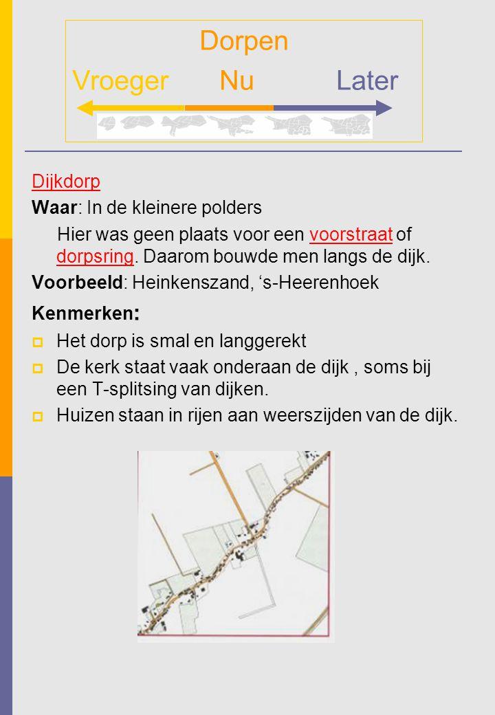 Dijkdorp Waar: In de kleinere polders Hier was geen plaats voor een voorstraat of dorpsring. Daarom bouwde men langs de dijk. Voorbeeld: Heinkenszand,
