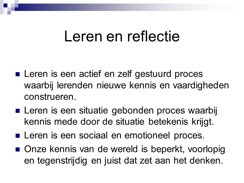 Ervaringen met reflectie Waar reflecteer je op? Hoe reflecteer je Wanneer is reflectie moeilijk ?