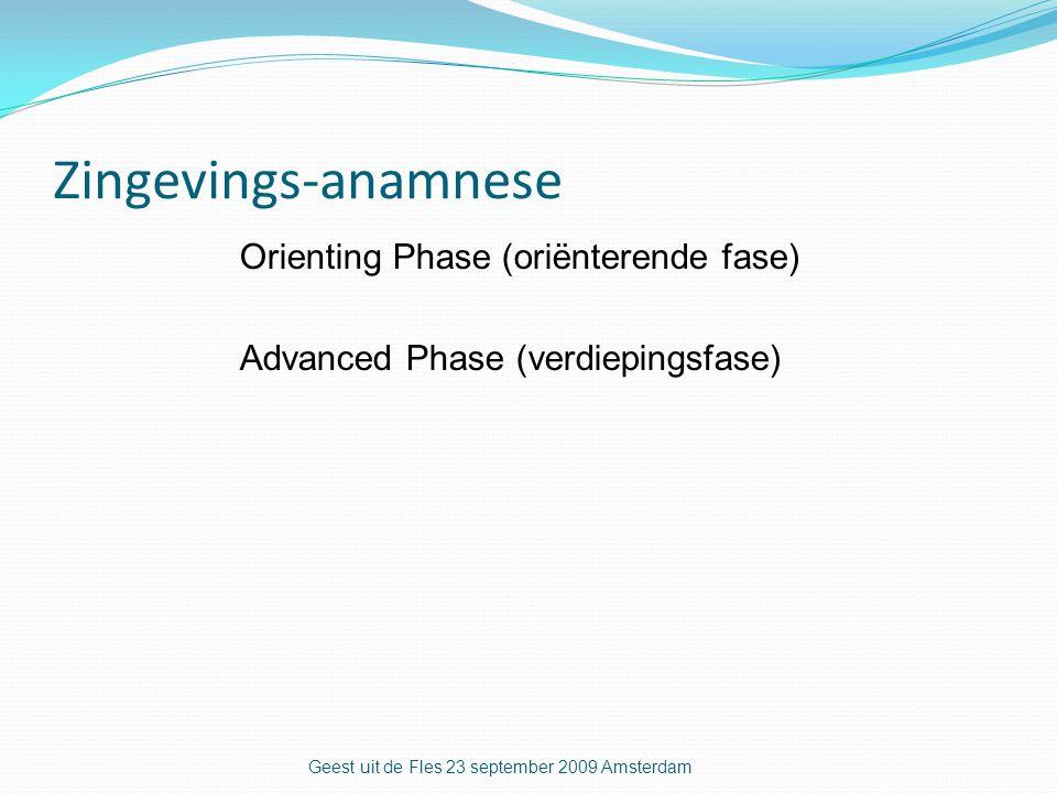 Zingevings-anamnese Orienting Phase (oriënterende fase) Advanced Phase (verdiepingsfase) Geest uit de Fles 23 september 2009 Amsterdam