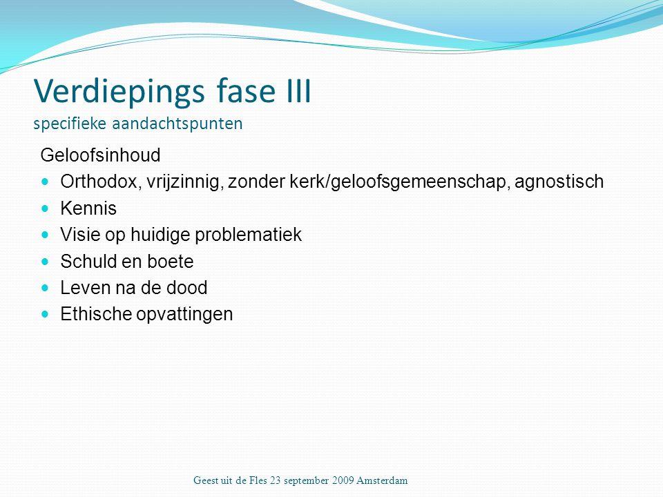 Verdiepings fase III specifieke aandachtspunten Geloofsinhoud Orthodox, vrijzinnig, zonder kerk/geloofsgemeenschap, agnostisch Kennis Visie op huidige problematiek Schuld en boete Leven na de dood Ethische opvattingen Geest uit de Fles 23 september 2009 Amsterdam