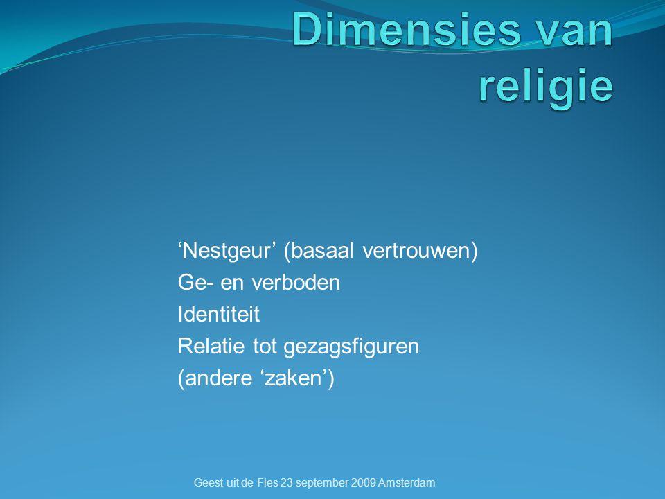 'Nestgeur' (basaal vertrouwen) Ge- en verboden Identiteit Relatie tot gezagsfiguren (andere 'zaken') Geest uit de Fles 23 september 2009 Amsterdam