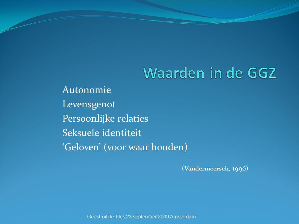 Autonomie Levensgenot Persoonlijke relaties Seksuele identiteit 'Geloven' (voor waar houden) (Vandermeersch, 1996) Geest uit de Fles 23 september 2009 Amsterdam