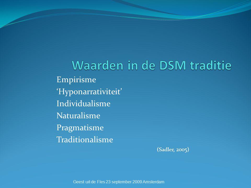 Empirisme 'Hyponarrativiteit' Individualisme Naturalisme Pragmatisme Traditionalisme (Sadler, 2005) Geest uit de Fles 23 september 2009 Amsterdam