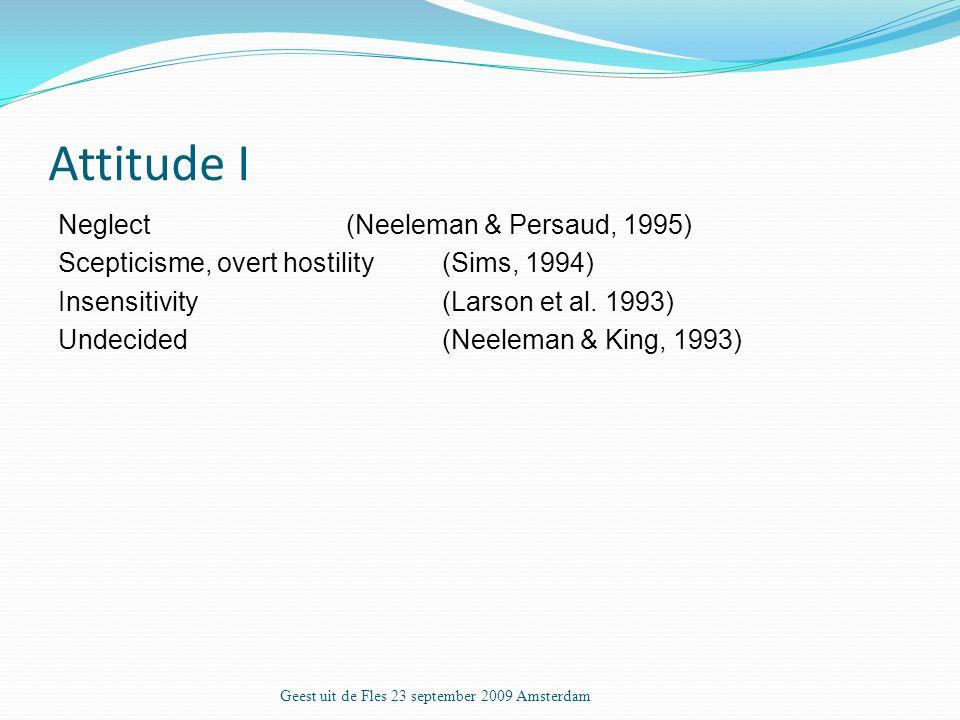 Attitude I Neglect(Neeleman & Persaud, 1995) Scepticisme, overt hostility (Sims, 1994) Insensitivity (Larson et al.
