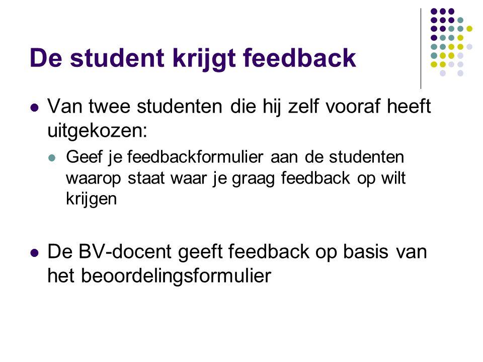 De student krijgt feedback Van twee studenten die hij zelf vooraf heeft uitgekozen: Geef je feedbackformulier aan de studenten waarop staat waar je gr