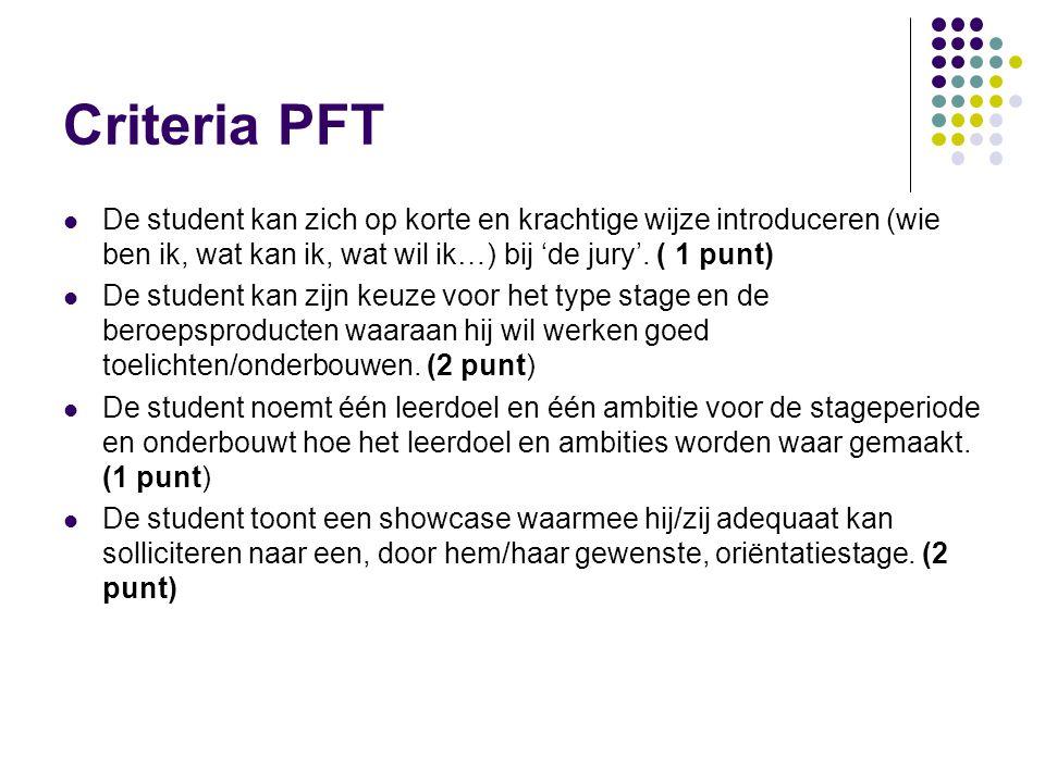Criteria PFT De student kan zich op korte en krachtige wijze introduceren (wie ben ik, wat kan ik, wat wil ik…) bij 'de jury'. ( 1 punt) De student ka