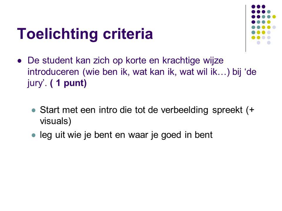 Toelichting criteria De student kan zich op korte en krachtige wijze introduceren (wie ben ik, wat kan ik, wat wil ik…) bij 'de jury'. ( 1 punt) Start