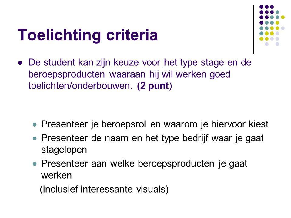 Toelichting criteria De student kan zijn keuze voor het type stage en de beroepsproducten waaraan hij wil werken goed toelichten/onderbouwen. (2 punt)