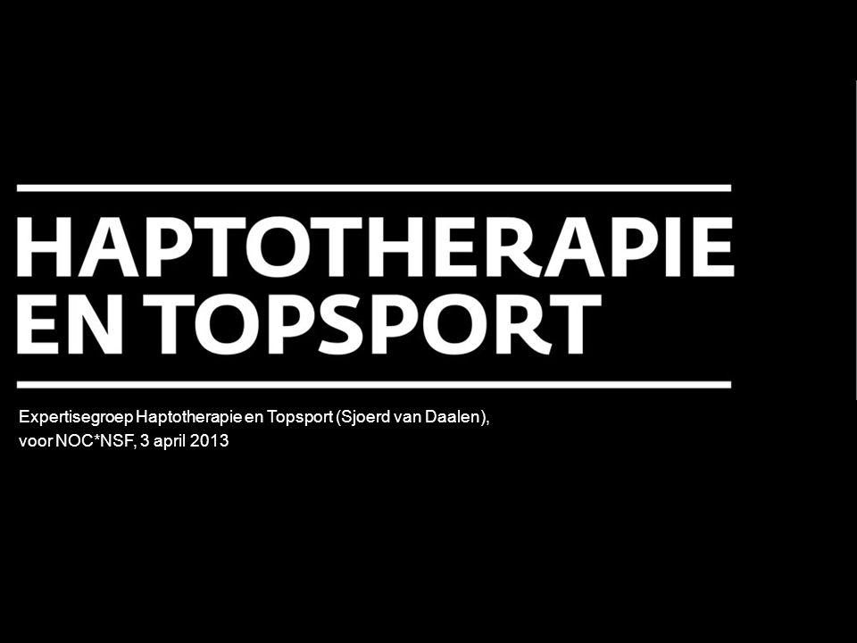 De sporter gaat in haptotherapeutische begeleiding weer merken dát hij kan voelen en wát hij kan voelen Het zoeken naar het eigen evenwicht in het (top-)sportleven staat in de begeleiding centraal.