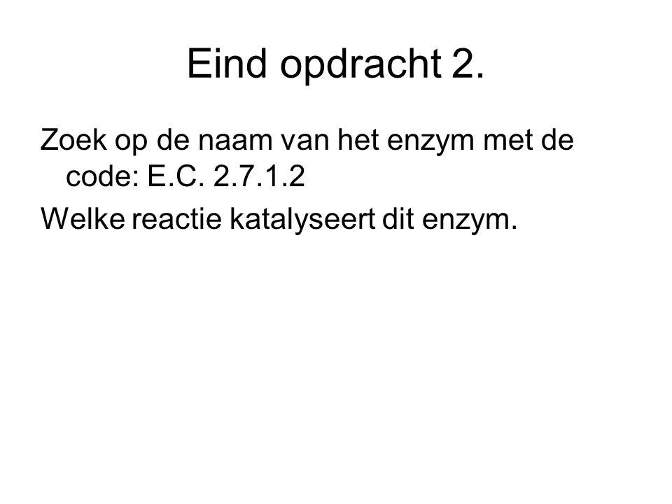Eind opdracht 2. Zoek op de naam van het enzym met de code: E.C. 2.7.1.2 Welke reactie katalyseert dit enzym.