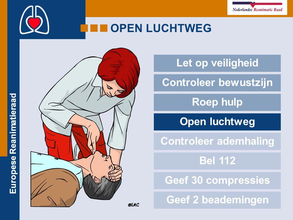 Europese Reanimatieraad OPEN LUCHTWEG Let op veiligheid Controleer bewustzijn Roep hulp Open luchtweg Controleer ademhaling Bel 112 Geef 30 compressie