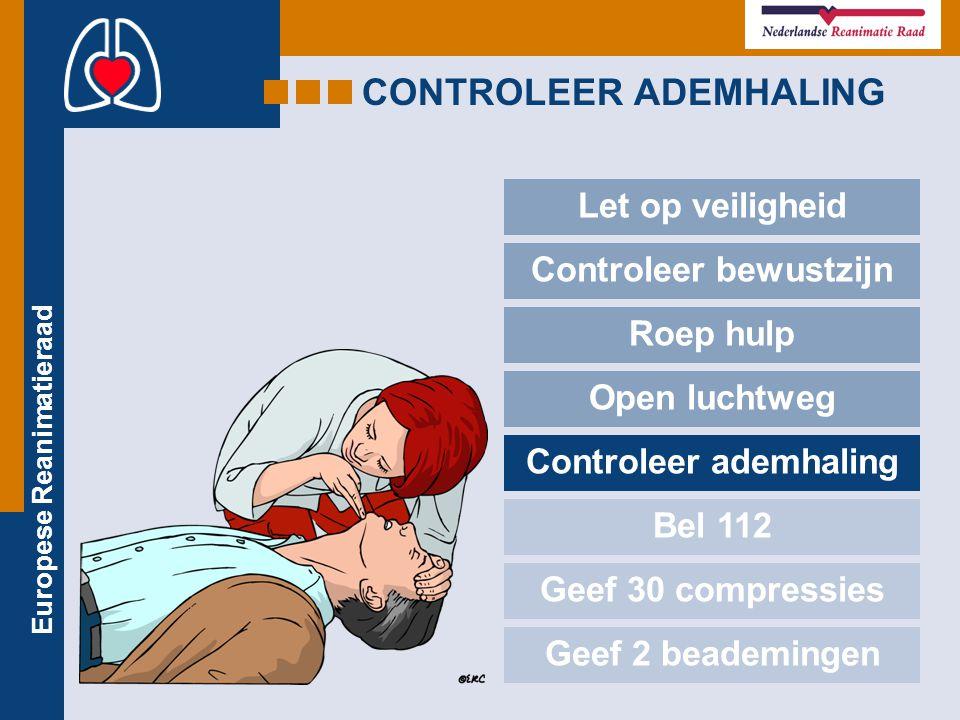 Europese Reanimatieraad CONTROLEER ADEMHALING Let op veiligheid Controleer bewustzijn Roep hulp Open luchtweg Controleer ademhaling Bel 112 Geef 30 co