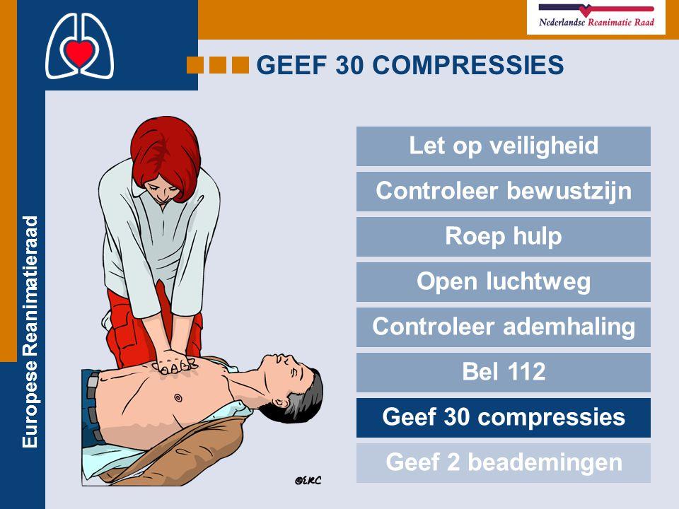Europese Reanimatieraad GEEF 30 COMPRESSIES Let op veiligheid Controleer bewustzijn Roep hulp Open luchtweg Controleer ademhaling Bel 112 Geef 30 comp